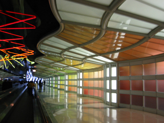 [glowing neon at O'Hare Airport in Chicago]
